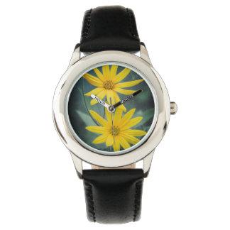 Reloj Dos flores amarillas de alcachofa de Jerusalén