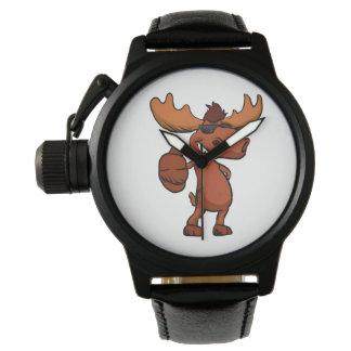 Reloj El agitar lindo del dibujo animado de los alces