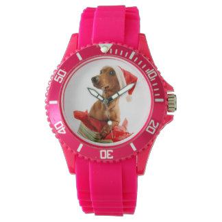 Reloj El Dachshund santa - el perro de santa - persiguen