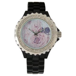 Reloj El La compite color de rosa oscuro elegante