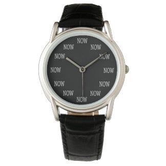 Reloj El tiempo AHORA es reloj: Letras blancas en negro