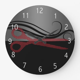 Reloj elegante rojo del salón de pelo