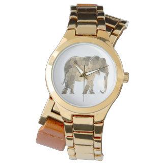 Reloj Encanto elegante de la silueta de oro del elefante
