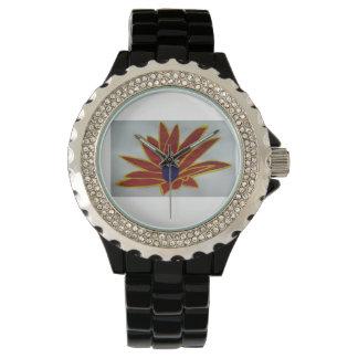 Reloj - esmalte de encargo del negro del diamante