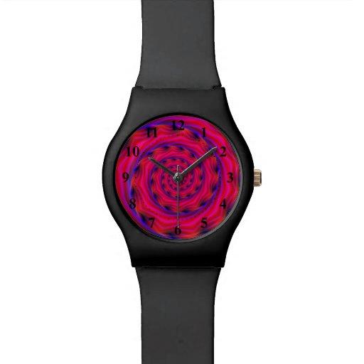 Reloj espiral violeta y azul rojo