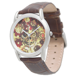 reloj esquelético de Steampunk del perrito rojo