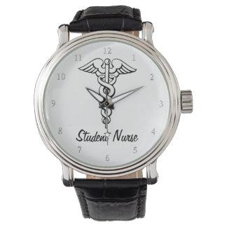 Reloj Estudiante médico B&W del oficio de enfermera del