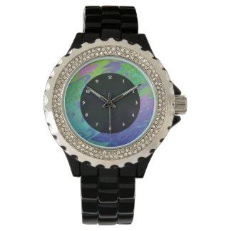 Reloj Extracto azulverde colorido del chapoteo