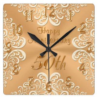 Reloj feliz del aniversario del oro y de boda de