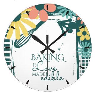 Reloj femenino lamentable de la cocina de la