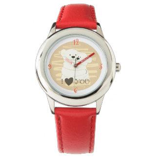 Reloj Femenino rojo del amor de los pares del oso del