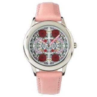Reloj floral del rosa del acero inoxidable del