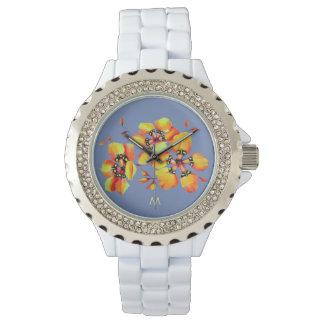 Reloj Flores anaranjadas brillantes - gris azul -