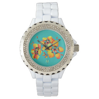 Reloj Flores anaranjadas brillantes - monograma de la