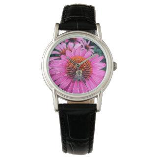 Reloj Flores púrpuras vivas con la abeja