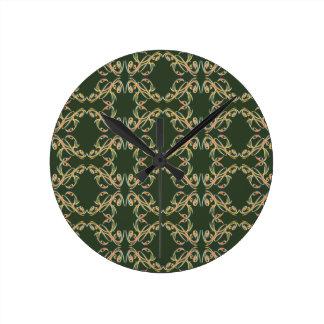 Reloj florido verde del garabato