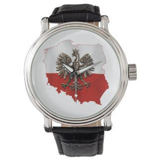 Reloj Forma de Polonia con colores polacos y el águila