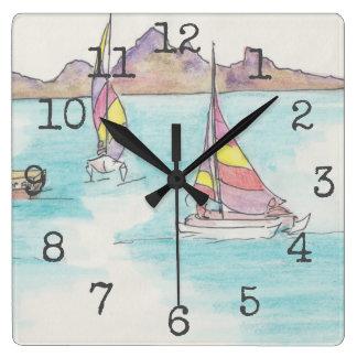 """Reloj formado cuadrado """"barcos Fiji de la acuarela"""