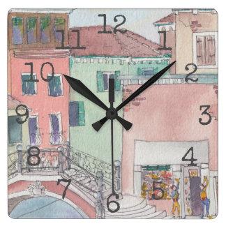 "Reloj formado cuadrado ""compras de la acuarela """