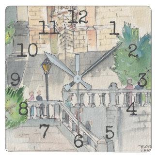 """Reloj formado cuadrado """"museo de la acuarela """""""
