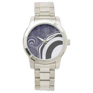 Reloj Fractal rayado azul y negro