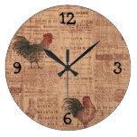 Reloj francés de la impresión de los gallos del