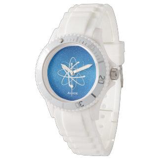 Reloj fresco del friki del símbolo el | del átomo