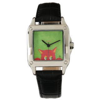 Reloj Gatito rojo con una abeja