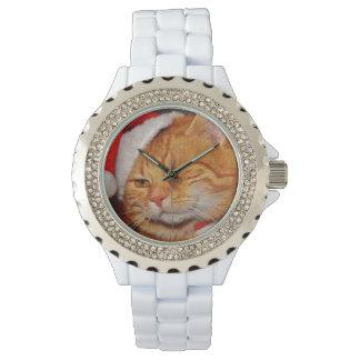 Reloj Gato anaranjado - gato de Papá Noel - Felices
