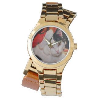 Reloj Gato de Papá Noel - Felices Navidad - acaricie el