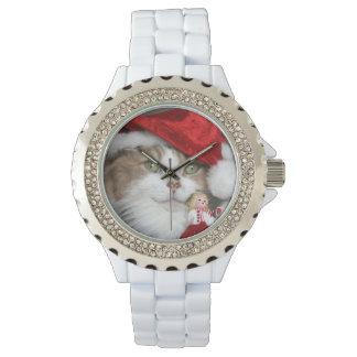 Reloj Gato de Santa - gato del navidad - gatitos lindos