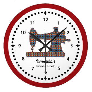 Reloj grande de la máquina de coser de la