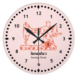 Reloj grande de la máquina de coser de Paisley del