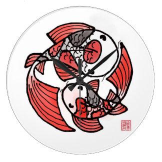 Reloj grande de los pescados de Koi