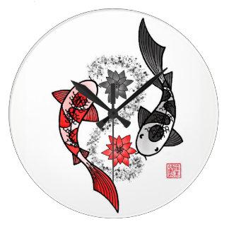 Reloj grande de los pescados de Yin Yang Koi
