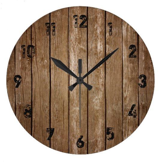 Madera Los Tablones Grande Reloj De Rústicos 6Yb7gyf
