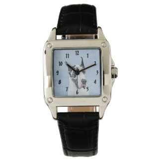 Reloj Great dane (Harlequin) que pinta - arte original