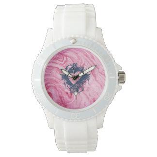 Reloj hermoso elegante del modelo de mármol rosado de la