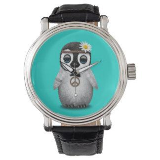 Reloj Hippie lindo del pingüino del bebé