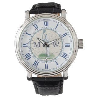 Reloj Jugador de tenis con monograma del vintage