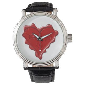 Reloj Kathryn. Sello rojo de la cera del corazón con