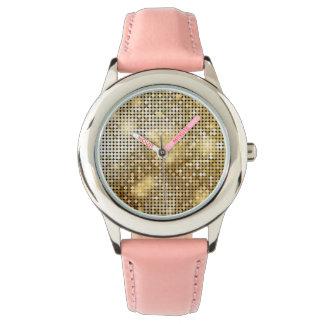 Reloj La lentejuela de oro chispeante brillante brilla