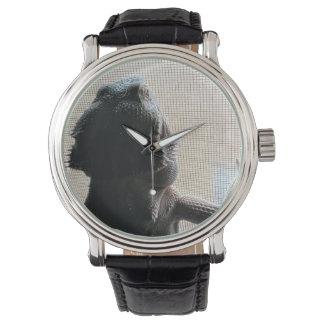 Reloj lindo del cuero del negro de imagen de