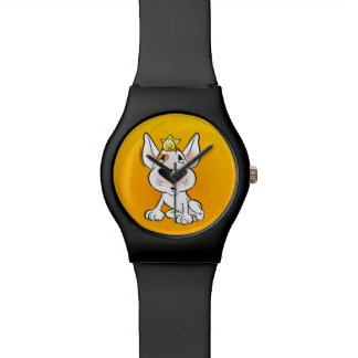 Reloj lindo del dibujo animado del perrito de bull