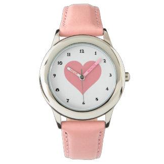 reloj lindo rosado del rosa del acero inoxidable