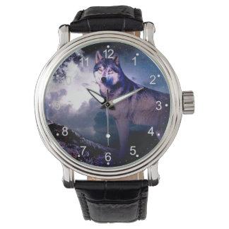 Reloj Lobo de la luna - lobo gris - lobo salvaje - lobo