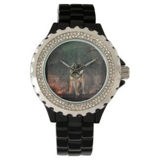Reloj Lobo impresionante en fondo del vintage