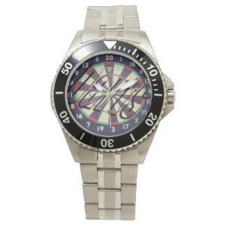 Reloj Logotipo del Dartboard y de los dardos,