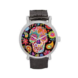 Reloj maravilloso del cráneo del azúcar - día del