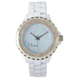 Reloj mármol blanco púrpura azul rosado colorido
